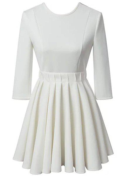 Charming Jewel Neck Half Sleeve Backless Pleated Dress For Women - WHITE M