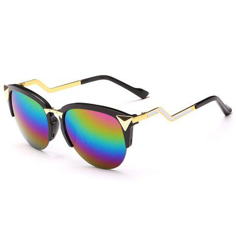 Chic Rainbow Color Lenses Triangle Zigzag Design Women's Sunglasses - BLACK