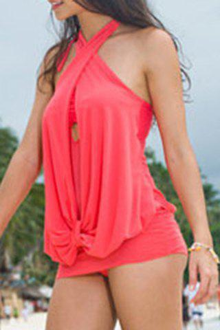 Sexy Women's Halter Ruffled Swimsuit ruched ruffled halter blouson swimsuit