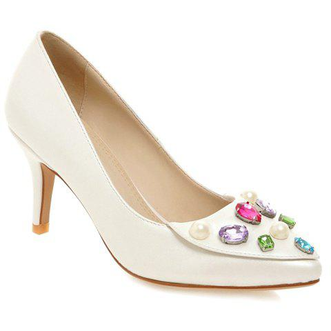 Pretty Rhinestones and PU Leather Design Pumps For Women - WHITE 37