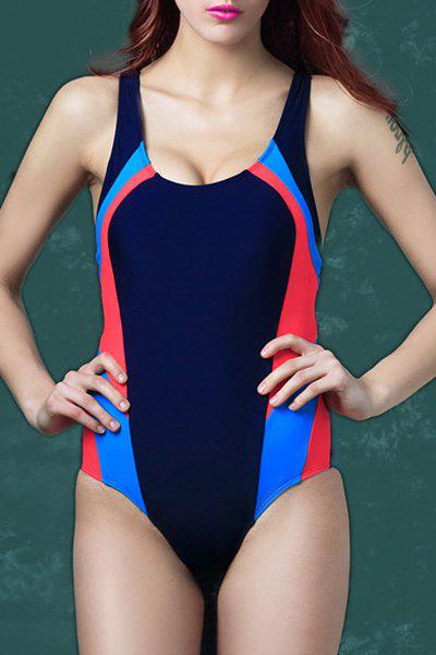 Alluring Scoop Neck Hit Color Elastic One Piece Swimwear For Women - PURPLISH BLUE 3XL