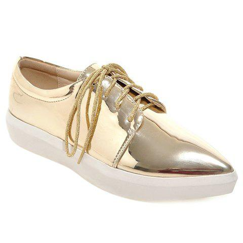 Simple Patent Leather and Lace-Up Design Flat Shoes For Women - GOLDEN 35