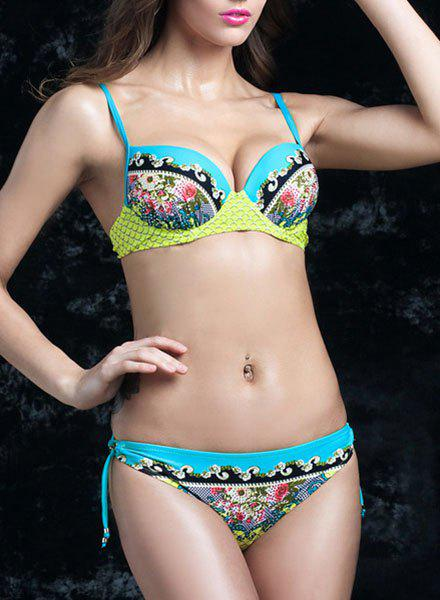 Fashionable Colorful Print Moulded Bikini For Women - LIGHT GREEN 2XL