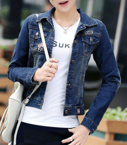 Stylish Turn-Down Collar Long Sleeve Single-Breasted Women's Denim Jacket - BLUE L