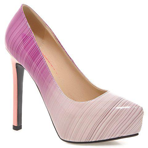 Graceful Gradient and Patent Leather Design Pumps For Women - 39 PURPLE