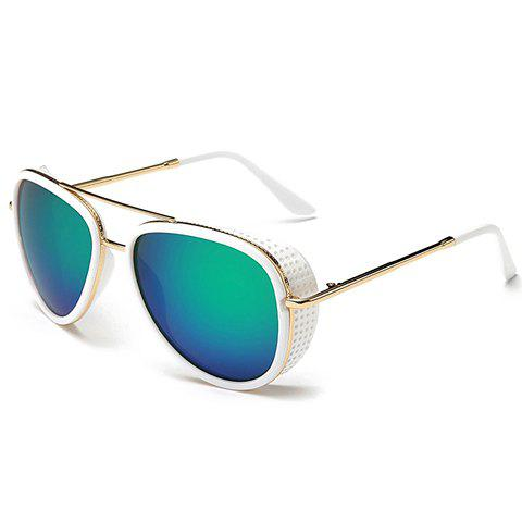 Stylish Small Hole and Metal Embellished Sunglasses - WHITE