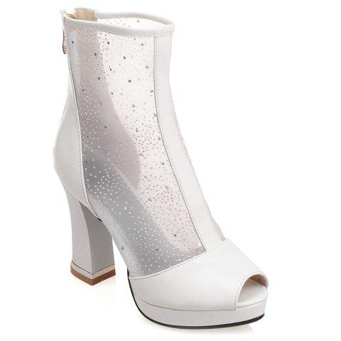 Fashionable Peep Toe and Chunky Heel Design Short Boots For Women - WHITE 39