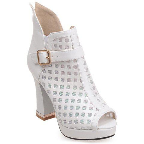 Stylish Buckle Strap and Chunky Heel Design Peep Toe Shoes For Women - WHITE 38