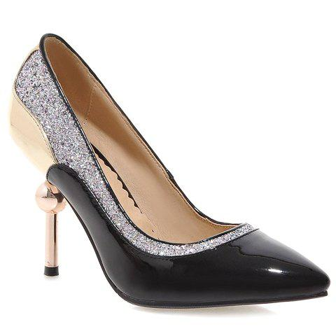 Stylish Color Block and Sequins Design Pumps For Women - BLACK 39