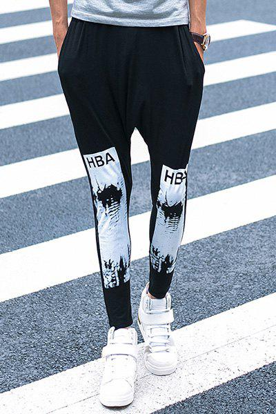 Casual Letter Printed Ankle-tied Harem Pants For Men - BLACK XL