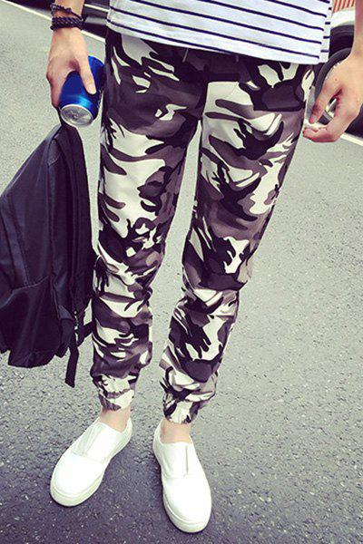 Casual Lace Up Camo Ankle-tied Harem Pants For Men - CAMOUFLAGE 4XL