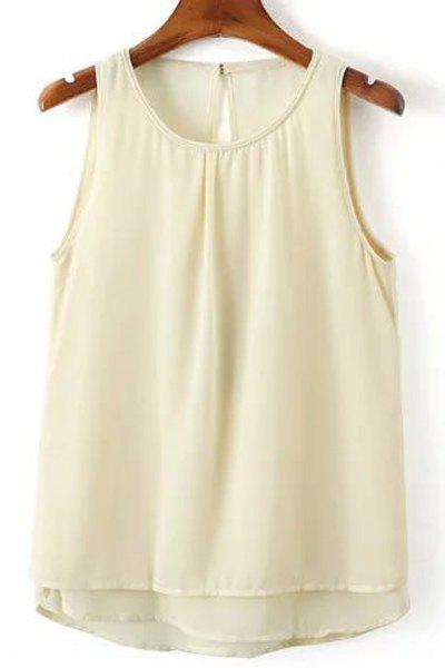 Sweet Women's Round Neck Open Back Tank Top - OFF WHITE L