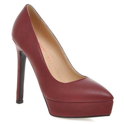 Simple PU Leather and Platform Design Pumps For Women - WINE RED 39