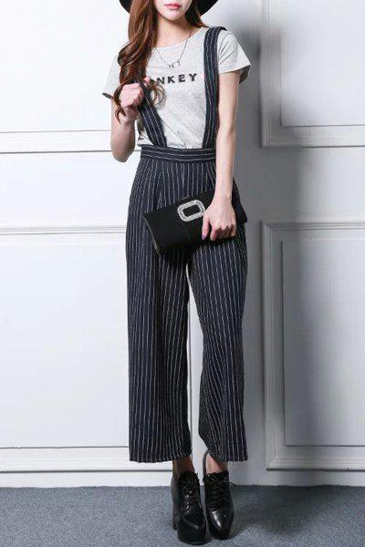 Preppy Style Zippered Vertical Stripe Overalls For Women - DEEP BLUE S
