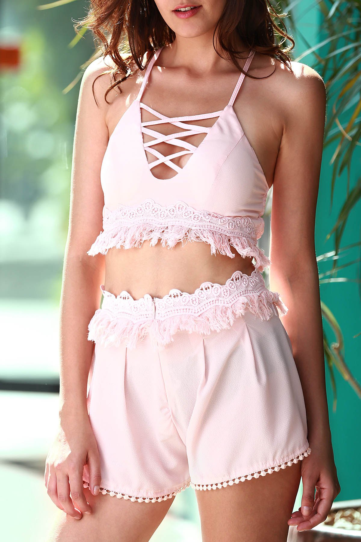 Stylish Cami Pink Crop Top and Tassels Shorts Women's Suit - LIGHT PINK S
