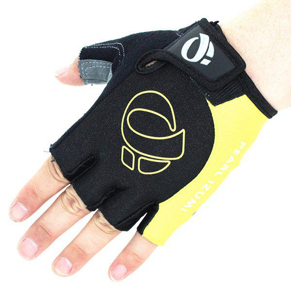 A Pair of Quality Outdoor Sports Cycling Non-Slip Breathable Half Finger Gloves - YELLOW L
