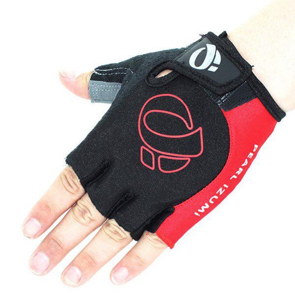 A Pair of Quality Outdoor Sports Cycling Non-Slip Breathable Half Finger Gloves - RED L