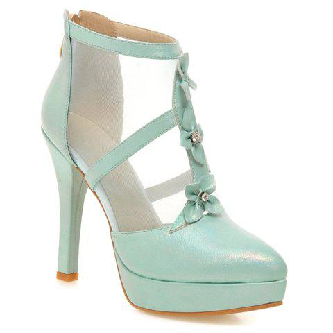 Pretty Flowers and PU Leather Design Pumps For Women - AZURE 38