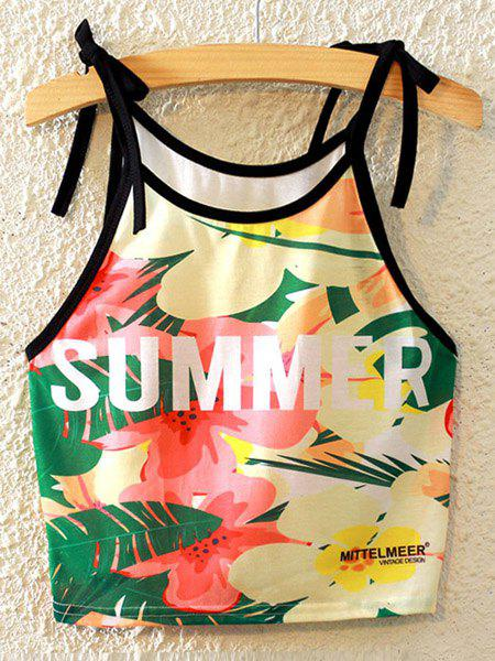 Stylish Spaghetti Strap Printed Lace-Up Women's Tank Top