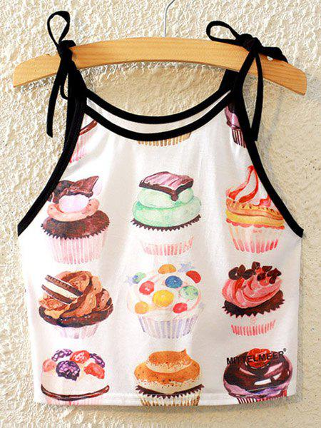 Stylish Spaghetti Strap Cake Print Lace-Up Women's Tank Top - COLORMIX ONE SIZE(FIT SIZE XS TO M)