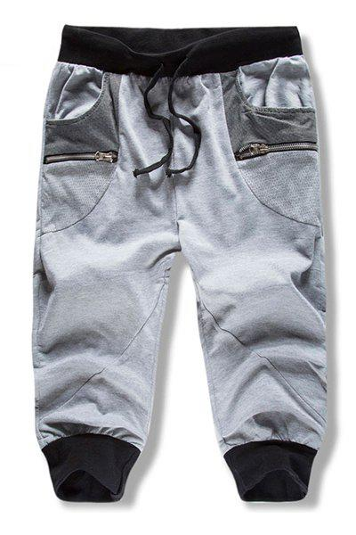 Loose Fit Lace Up Summer Color Block Cropped Trousers For Men - GRAY L