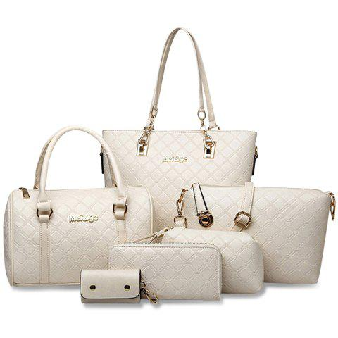Elegant Checked and PU Leather Design Shoulder Bag For Women - OFF WHITE