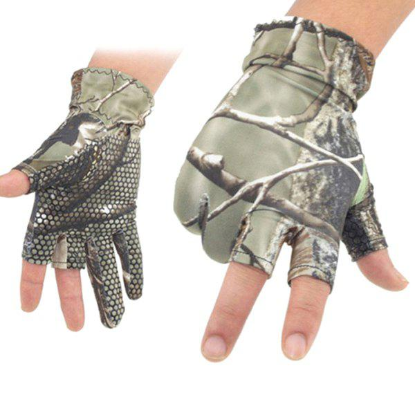 Pair of Quality Cycling Fishing Show Three Finger Non-Slip Flexible Gloves - COLORMIX M