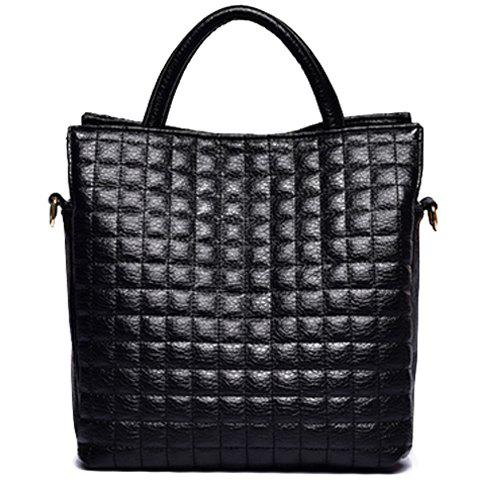 Stylish PU Leather and Checked Design Tote Bag For Women - BLACK