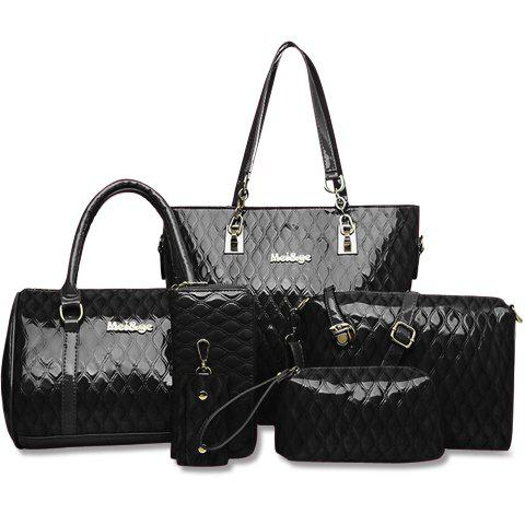 Fashionable Embossing and Solid Color Design Tote Bag For Women - BLACK