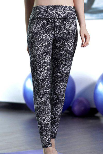 Active Women's Printed Skinny Pants - WHITE/BLACK L