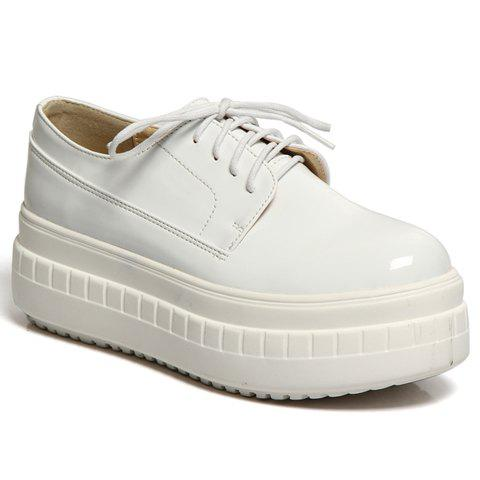 Simple Patent Leather and Lace-Up Design Platform Shoes For Women - WHITE 38