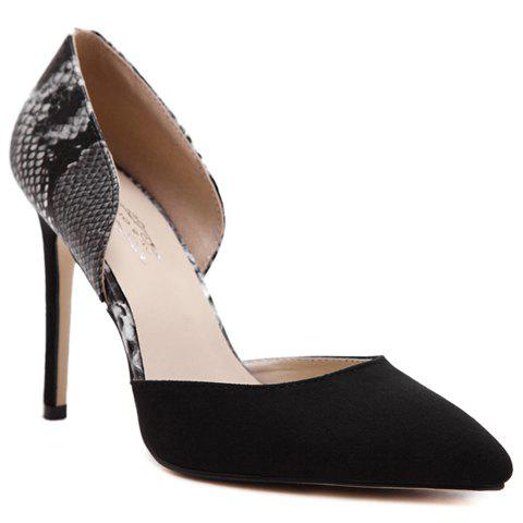 Fashion Snake Print and Two-Piece Design Pumps For Women - BLACK 37