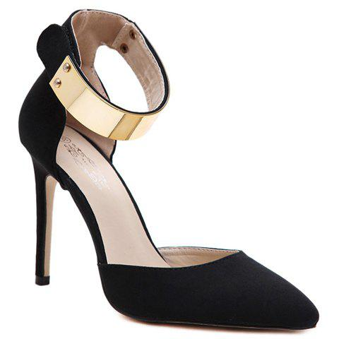 Trendy Ankle Strap and Suede Design Pumps For Women - BLACK 38