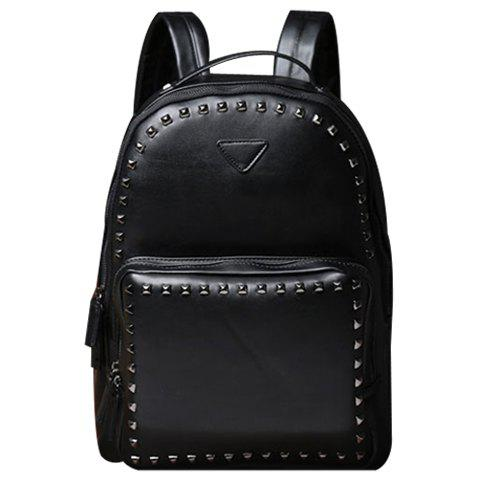 Stylish Rivets and Black Design Men's Backpack - BLACK