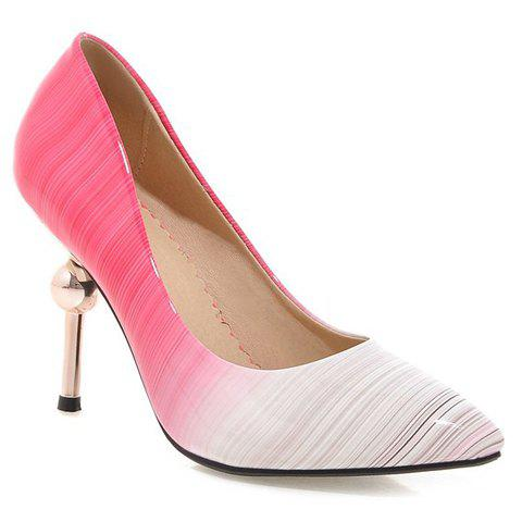 Fashion Strange Heels and Patent Leather Design Pumps For Women - PEACH RED 39