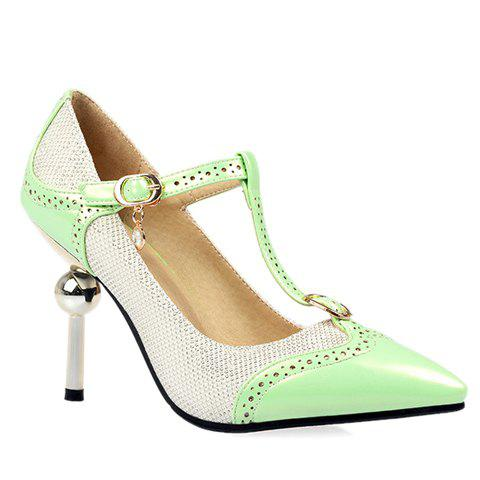 Sweet Color Block and T-Strap Design Pumps For Women - GREEN 38