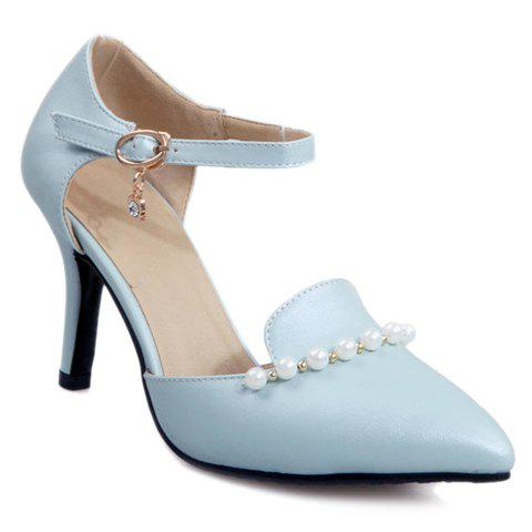 Sweet Beading and PU Leather Design Pumps For Women - LIGHT BLUE 39