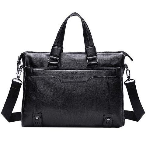Concise Letter Print and Solid Color Design Men's Briefcase - BLACK