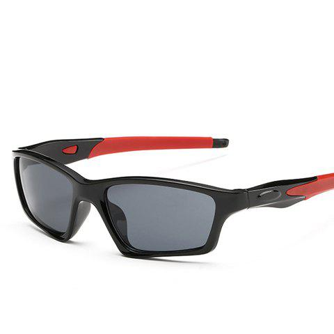 Stylish Black Full Frame Outdoor Cycling Men's Sunglasses - RED