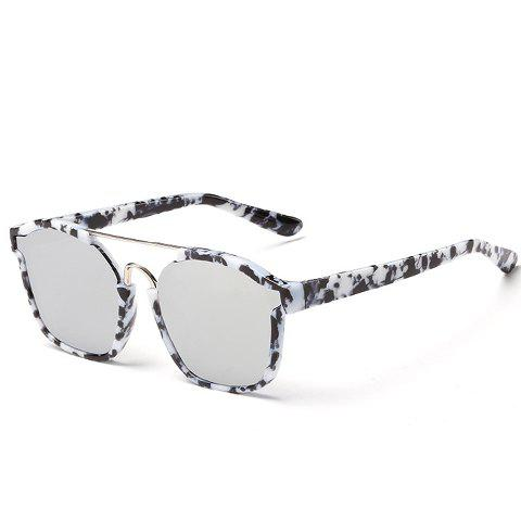 Chic Metal Bar Embellished Stone Pattern Women's Sunglasses - BLACK