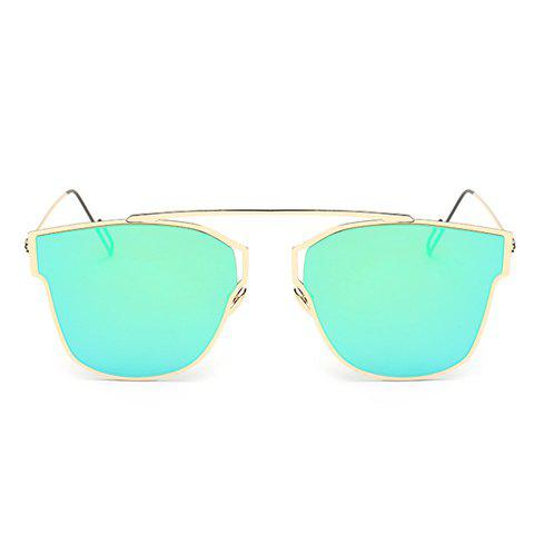 Chic Hollow Out Golden Metal Frame Women's Sunglasses - GREEN