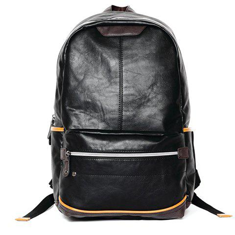 Leisure PU Leather and Zip Design Men's Backpack - BLACK