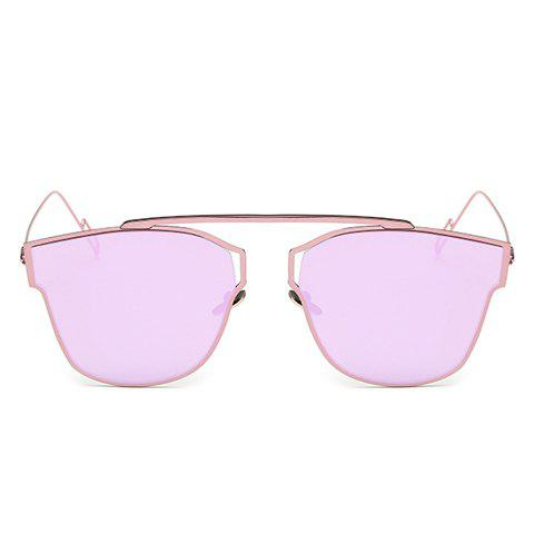Chic Hollow Out Metal Frame Women's Sunglasses - LIGHT PURPLE