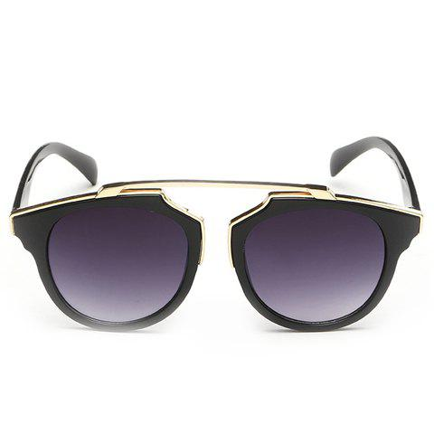 Chic Golden Metal Splicing Black Frame Women's Sunglasses - PURPLE
