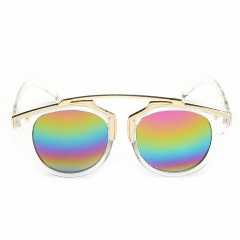 Chic Golden Metal Transparent Frame Rainbow Color Lenses Women's Sunglasses - TRANSPARENT