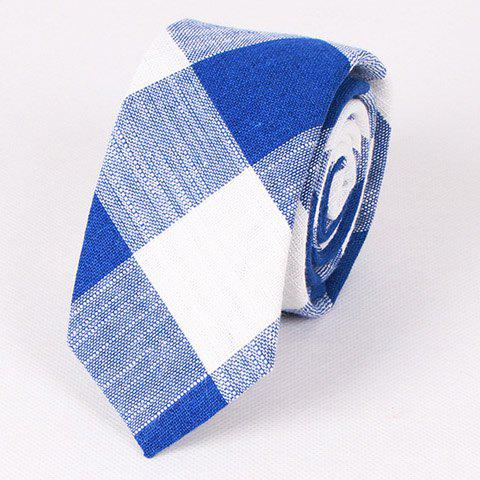 Stylish Hot Sale 6.5CM Width Flax Plaid Pattern Tie For Men - BLUE