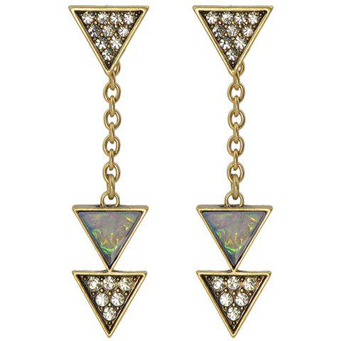 Pair of Charming Rhinestoned Triangle Earrings For Women