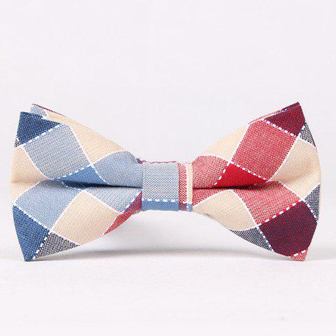 Stylish Hot Sale Colorful Plaid Jacquard Bow Tie For Men - RED