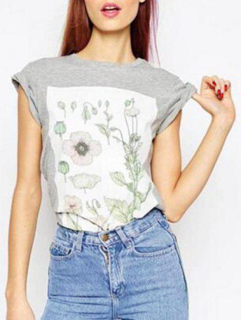 Casual Short Sleeves Round Neck Floral Print Women's T-Shirt - GRAY L