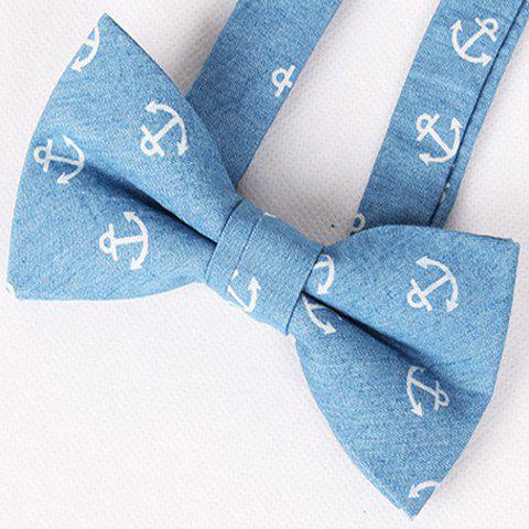 Casual Motif Retro Denim Anchor Bow Tie For Men - Bleu Glacé